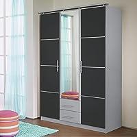 Preisvergleich für Kleiderschrank grau metallic / alu 3 Türen B 136 cm Schrank Spiegelschrank Wäscheschrank Kinderzimmer Jugendzimmer Schlafzimmer
