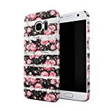 Candy Pink Flower Blossoms & White Pale Stripes Pattern Dünne Rückschale aus Hartplastik für Samsung Galaxy S7 Handy Hülle Schutzhülle Slim Fit Case cover