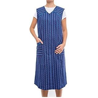 Tobeni Damen Kittelschürze lang mit Reissverschluss und Taschen ohne Arm 100% Baumwolle Farbe Design 34 Grösse 42