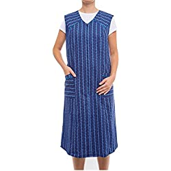 Tobeni Damen Kittelschürze lang mit Reissverschluss und Tasche ohne Arm 100% Baumwolle Design 34 Grösse 50