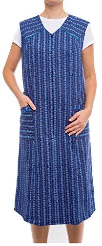 Tobeni Damen Kittelschürze lang mit Reissverschluss und Taschen ohne Arm 100% Baumwolle Farbe Design 34 Grösse 56 (5 Taschen Reißverschluss Mit)