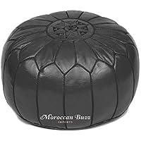 """Moroccan Buzz premium leder puff ottoman cover, schwarz (unstuffed pouf) 13.5"""" hoch x 20"""" schwarz preisvergleich bei kinderzimmerdekopreise.eu"""