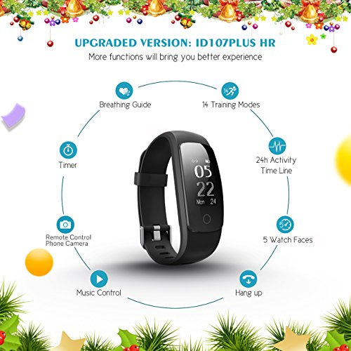 """Fitness Tracker, [Upgraded Version] Mpow Heart Rate Monitor Smart Bracelet Activity Tracker Fitness Health Smartwatch Wristband Bluetooth Pedometer with 14 training modes for Android and iOS Smart Phones"""""""
