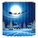 Kingko® 150x180cm 3D-Digitaldruck Weihnachten Themed wasserdicht Polyester Bad Duschvorhang mit 12 Haken, wasserdicht, Schimmel-Beweis, langlebig (V)