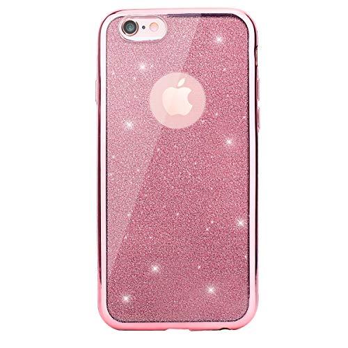 0d3a70dc8c1 CLTPY iPhone 6s Funda, iPhone 6 Transparente Cubierta Brillante Moda Diseño  Plating Bumper con Absorción