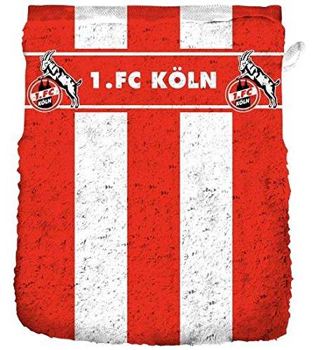 1.FC Köln Waschhandschuh Blockstreifen 16/21 cm Fanartikel Waschlappen