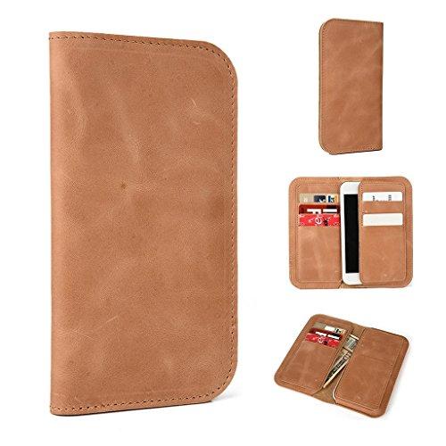Étui portefeuille en cuir véritable pour Samsung Galaxy Exhibit/AMP pour Marron - marron Brun - peau