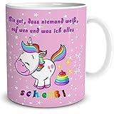 """TRIOSK Einhorn Tasse mit Lustigem Spruch """"Wie gut, DASS niemand weiß, …"""" Geschenk für Frauen, Geschenkidee für Mädchen, Weiß Pink Bunt, 300 ml Keramiktasse, Kaffeetasse für Freundin, Teetasse"""