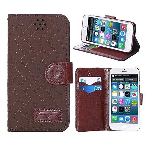 """inShang Hülle für Apple iPhone 6 iPhone 6S 4.7 inch iPhone6 iPhone6S 4.7"""", Cover Mit Modisch Klickschnalle + Errichten-in der Tasche + GRID PATTERN, Edles PU Leder Tasche Skins Etui Schutzhülle Stände grid brown"""