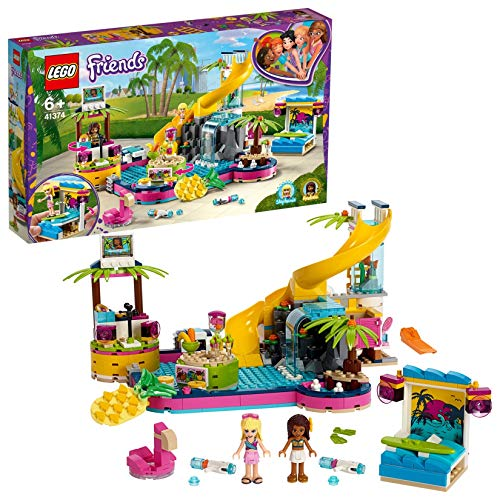 LEGO 41374 Friends Andrea's Pool Party Set with Andrea and Stephanie Mini-Dolls, DJ Box, Aquarium and Fish Best Price and Cheapest