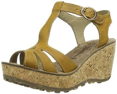 Fly London Women's Gold Platform Sandals Mustard 35 EU