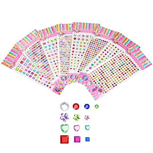 Crazy-m 1500 Stück Selbstklebende chmucksteine Aufkleber Kristall Edelstein Glitzer Selbstklebende Strasssteine Aufkleber, Rund + Herz + Blume + Quadrat Acryl Strass Steine für Zum Basteln