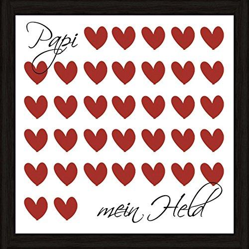 Artland Wand-Bild Poster Kunstdruck mit Rahmen Jule Papi mein Held Statement Bilder Sprüche & Texte Digitale Kunst Rot