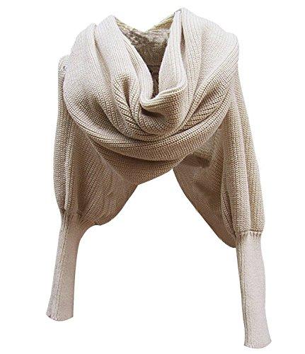 Tininna autunno e inverno caldo lana a maglia sciarpa scialle mantella maglione poncho mantellina con maniche per le donne ragazze beige