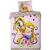Disney - Juego de cama de Rapunzel con funda nórdica para cama individual (algodón)
