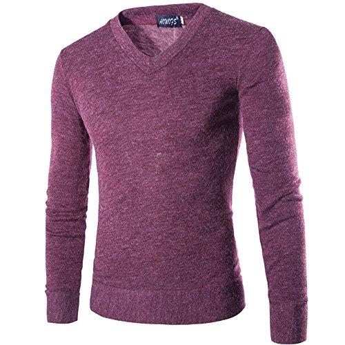 INFLATION Herren Basic Pullover Fleece Gestreift Strickpullover Langarm Freizeit Sweatshirt V-ausschnitt Pulli, Violett, Gr.XS(Etikette L)