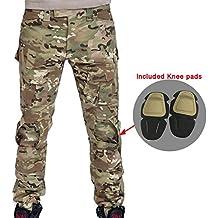Hombres Shooting BDU Combate Pantalones Pantalones con rodilleras Multicam MC para ejército militar táctico para Airsoft y Paintball, color camuflaje, tamaño small