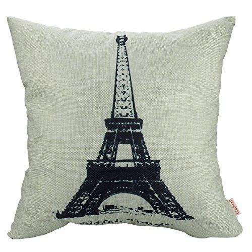 Luxbon-Cuscino in cotone e lino Copriletto Classic-Federa per cuscino, motivo Vintage Torre Eiffel stampato federa custodia decorativa, effetto casa decorativi per la casa, per divano, letto, auto, giardino 45,72 cm (18