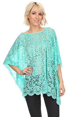 Kimono Bluse Abend-Bluse Tunika Shirt Überwurf Stola Spitze (Aqua) (Shirt Aqua-spitze)