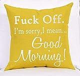 BorisMotley Fuck Off Good Morning Jaune Coton Lin carré Throw Taille Taie d'oreiller...