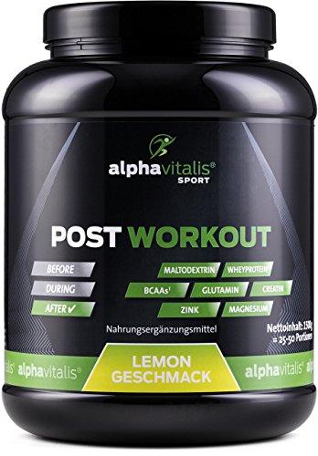POST WORKOUT Shake mit Maltodextrin, Whey Protein, BCAA, Creatin, L-Glutamin, Magnesium uvm. - 1500g Lemon- Die wichtigsten Nährstoffe nach deinem Workout! (Lemon, 1500g) EINWEG -
