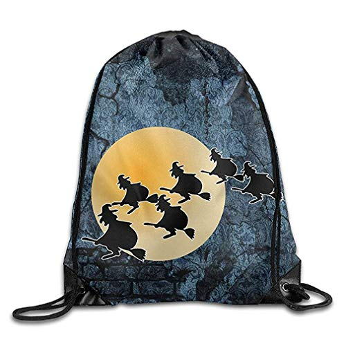 HLKPE Halloween Witches and Moon Unisex Drawstring Backpack Travel Sports Bag Drawstring Beam Port Backpack.