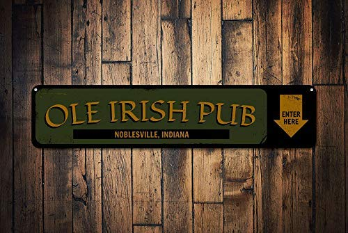 qidushop Ole Irish Pub Enter Here Schild Personalisiertes Bar-Standort-Haus-Bar-Schild für Bar-Pfeile, Bier-Dekoration, Metallschild für Zuhause, Wand-Dekoration für Damen und Herren -