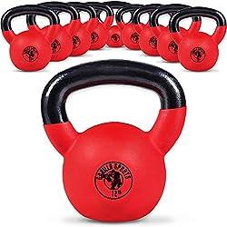 Gorilla Sports Kettlebell Red Rubber, in Ghisa, Rivestimento in Neoprene, Colore Rosso. Pezzo 16 kg