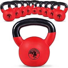 Idea Regalo - Gorilla Sports Kettlebell Red Rubber,  in Ghisa, Rivestimento in Neoprene, Colore Rosso. Pezzo 16 kg