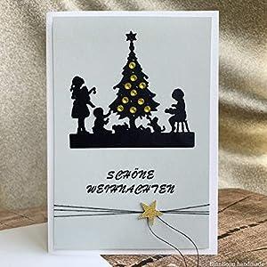 4 personalisierte Weihnachtskarten mit Umschlägen Weihnachtsgrüße Karten Grußkarten Weihnachten Merry Christmas Greeting Card Weihnachtsbaum schmücken Handarbeit binnbonn