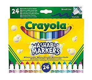 crayola-24rotuladores Lavables, Punta Maxi, Variados, para Escuela y Ocio, Color, 58-6570