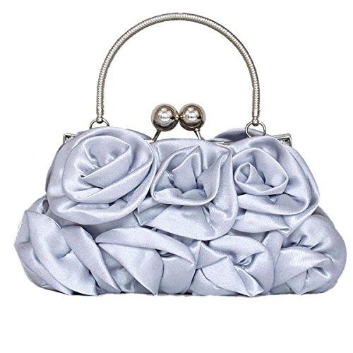 Frau Clutch Silk Rose Handtasche Tasche Handtasche Hochzeits-Kleid Silver