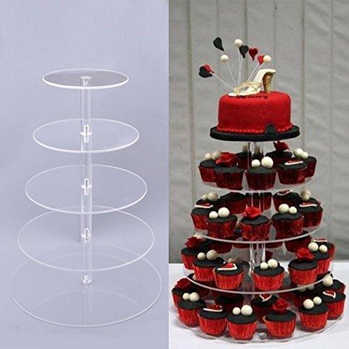 cravog rund Kristall klar Acryl Cupcake-Ständer Hochzeit Display Kuchen Tower 5Etagen