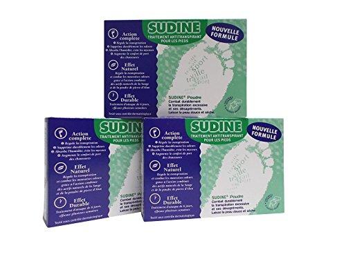 Lot de 3 Sudine Poudre -Traitement anti transpiration- Boite de 6 sachets doubles