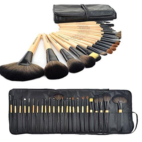 Moon mood® Kit de 24 Multifonctionnel Professionnels en bois Pinceaux de Maquillage Brosser Cosmétiques en Fibre de Maquillage de Fard à Paupières Eyeliner Cosmétique Foundation Brush (Couleur Du Bois)