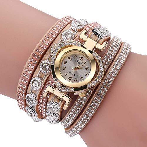 Armbanduhren Mode-Accessoires, Frauen mehrschichtige Band Strass Herz Dial Analog Quarz-Armbanduhr - Beige