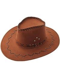 b0e9e179f93 Bigood Enfant Chapeau Western Cowboy Soleil Unisexe Rétro Large Bord