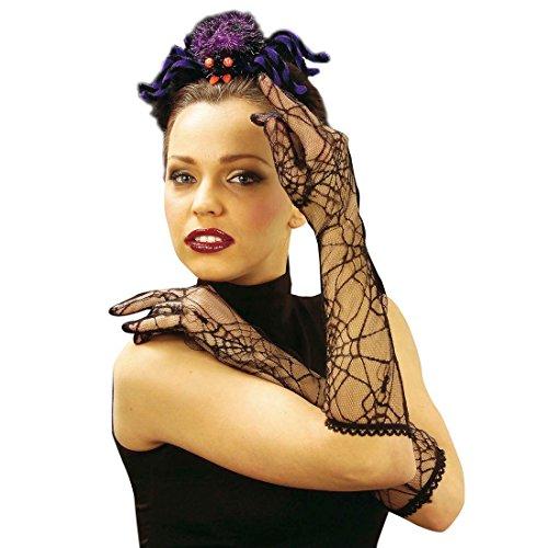 Amakando Spinnennetz Handschuhe Netzhandschuhe schwarz Hexe Damenhandschuhe Spinne Handschuh Paar Halloweenparty Hexenhandschuhe Vampir Halloween Party Accessoires Karneval Kostüm - Spinnennetz Kostüm Zubehör