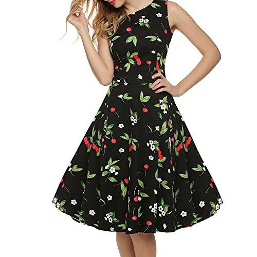 MAX MALL Damen 1950er Audrey Hepburn Vintage Rockabilly Kleid Swing Pinup Partykleid Cocktailkleid Schwarzkirsche