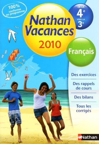 Français de la 4e vers la 3e Nathan Vacances