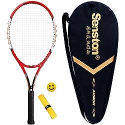 Senston Raqueta de Tenis unisex,Incluido Bolsa de Tenis / 1 grip / 1 Amortiguadores,Rojo