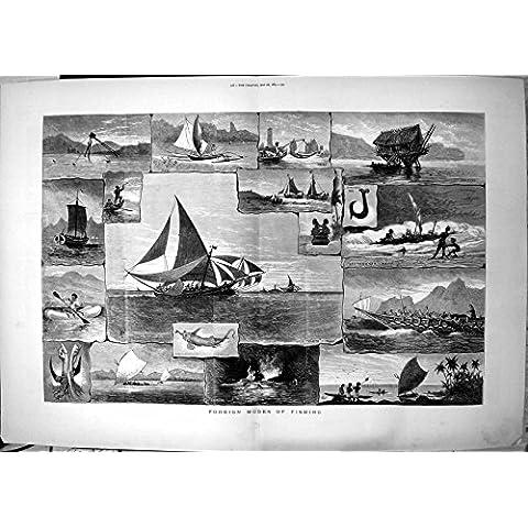 Impresión Antigua de los Modos Extranjeros Que Pescan el Catamarán Bahía Fiji 1883 de Muleta el Tajo