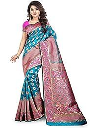 Aksh Fashion Women's Self Design Woven Kanjivaram Banarasi Art Silk Saree With Blouse