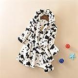 WEILIVE Gemütlich Kinder Kleinkinder Kuh Muster Flanell Bademantel mit Kapuze Bademantel Nachtwäsche Nachthemd Schlafanzug Handtuch-Kleid