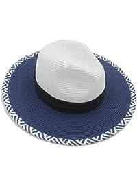 Oudan Moda Mujer Verano Toquilla Stroh Panama Sombrero Elegante Mujer Reina  Floppy Amplio ala Bobo Shell Sunbonnet Beach Cap f9e9777b983