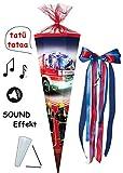 alles-meine.de GmbH mit Sound Effekt ! - Schultüte -  Feuerwehr  - 85 cm / 12 eckig - incl. große Schleife - Tüllabschluß - Zuckertüte - mit / ohne Kunststoff Spitze - für Jung..