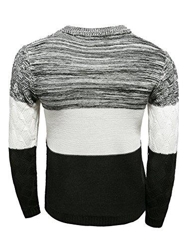 BOMOVO Herren Strickpullover Pullover Rundhalskragen Slim Fit Spleiß Sweatshirt Weiß