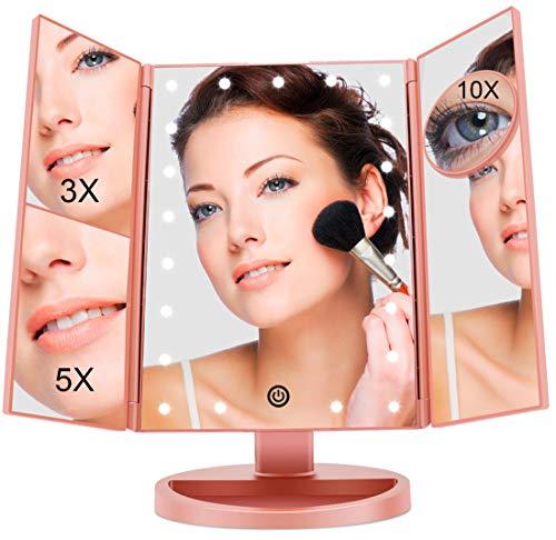 FASCINATE Espejo con Luz para Maquillaje Pantalla Táctil Lámparas con Iluminacíon 21 Led 1X/3X/5X/10X...
