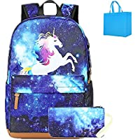 Girls School Backpack Galaxy Backpack Womens Cute Unicorn School Bag for Teenager with Pencil Case,USB Charging Port