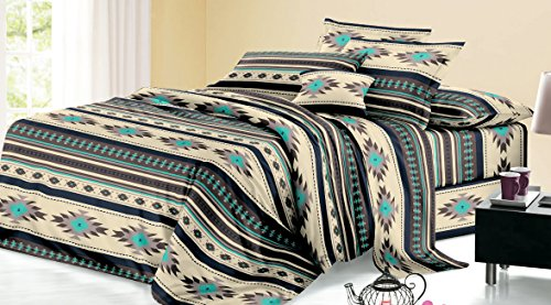Rustikaler Western Southwest Native American Design 4Stück-Bettlaken-Set Navajo Print Multicolor Elfenbeinfarben Türkis Blau Schwarz und Grau 17426Queen Braun/Türkis-Bettlaken-Set (Queen-bett-sets, Türkis)